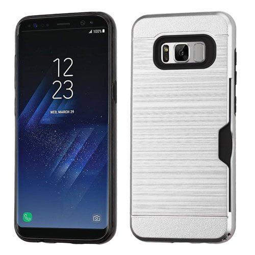 Samsung Galaxy S8 Case - Wydan Brushed Metal Texture Slim Credit Card Slot Hybrid Hard Protective Shock Phone Cover Black on Black