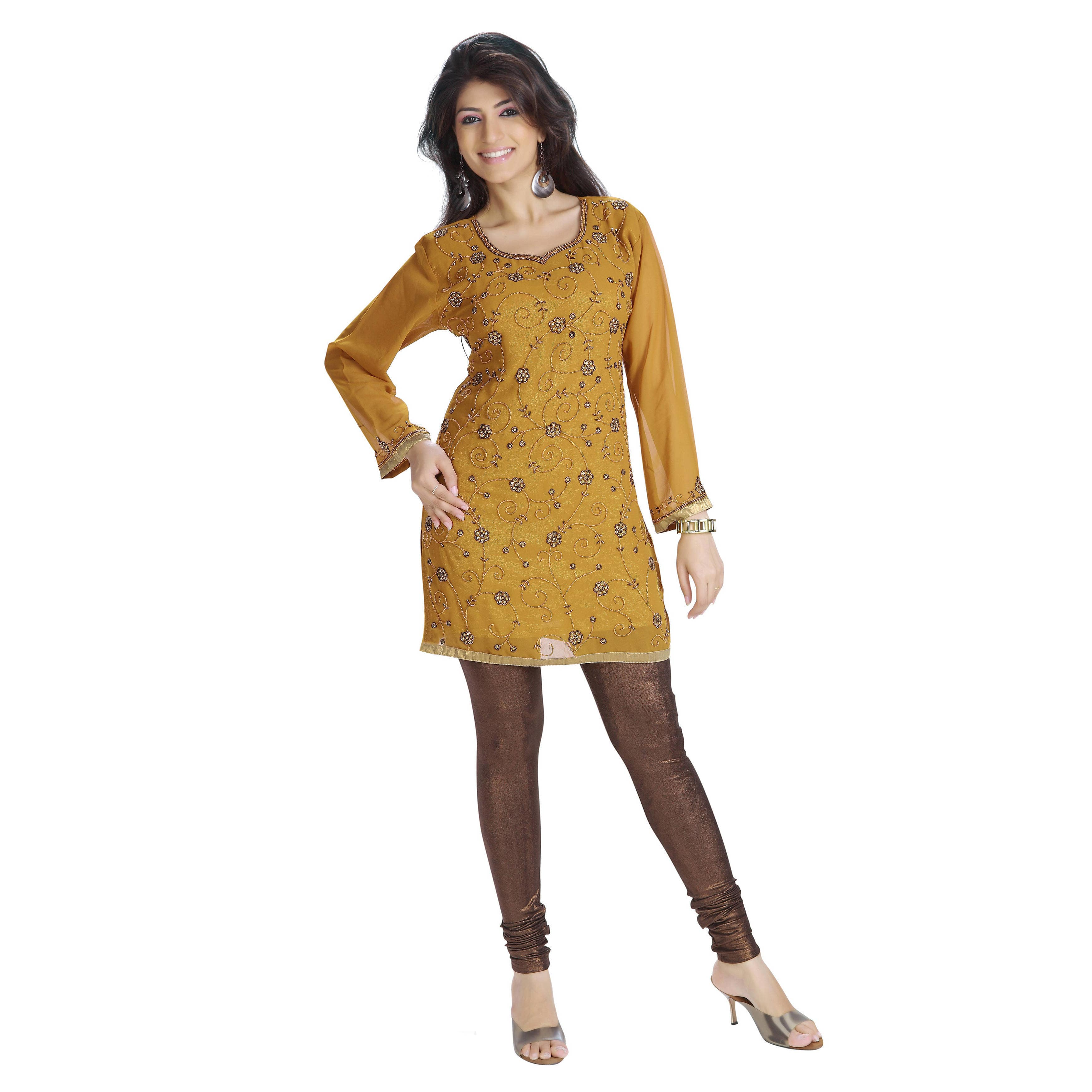 Mustard Georgette Beadwork Kurti (India) X-Large...Chest ...
