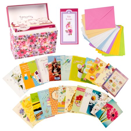Designer Greetings Greeting Card Organizer Box With Dividers And 24 Assorted Cards All Occasion Envelopes