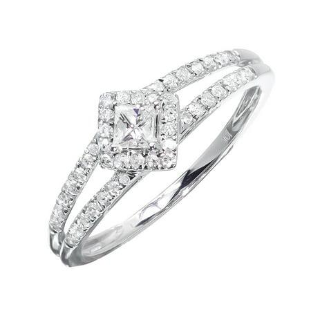 0.49 Ct Princess Shape - Princess Solitaire Ring in Diamond Shape (0.35 ct)