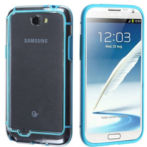 Samsung Galaxy Note 2 MyBat MyBumper Phone Protector Cover, Baby Blue/Transparent Clear