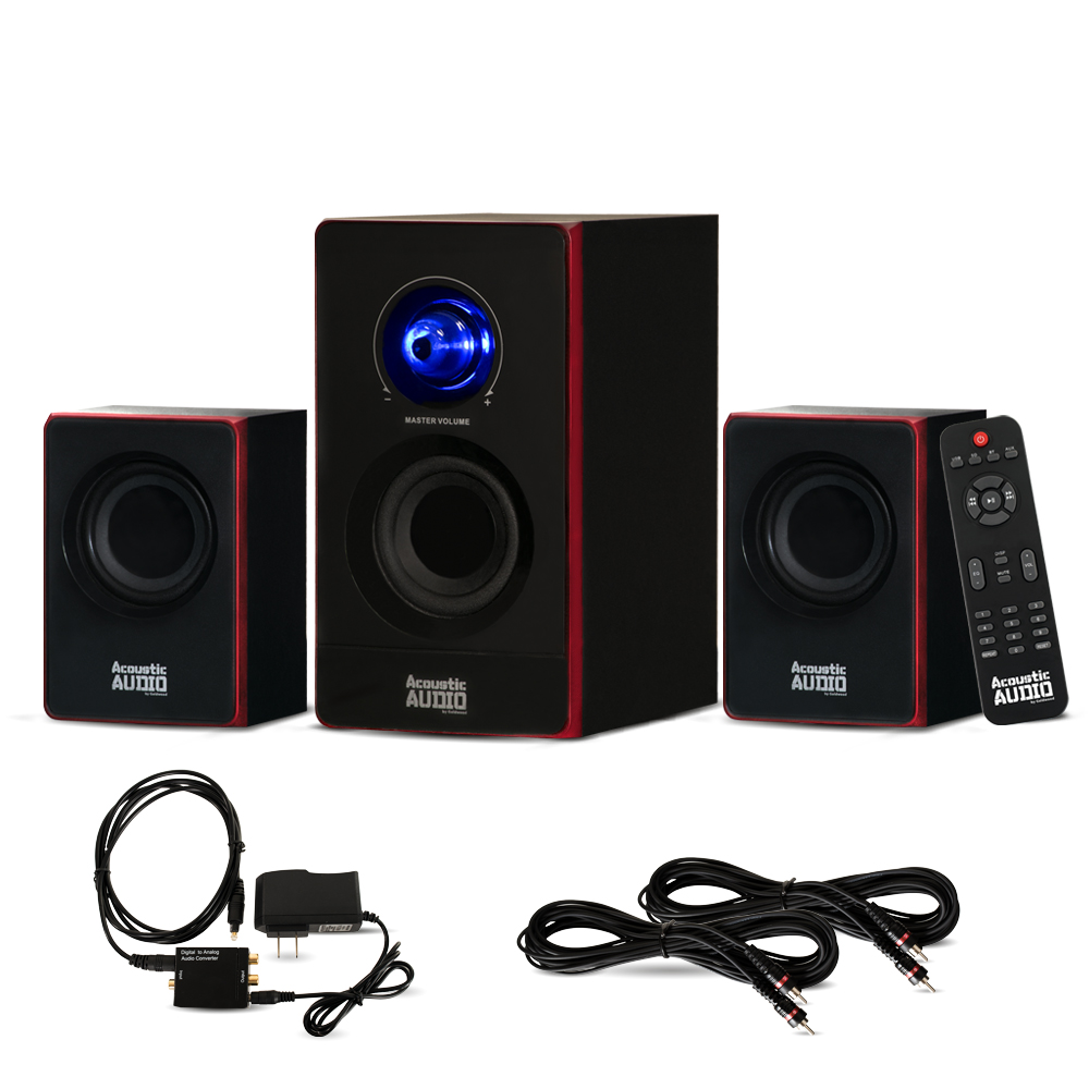 Acoustic Audio AA2103 Bluetooth Home 2.1 Speaker System with Optical Input and 2 Extension