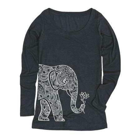 Left Side Elephant Holding Lotus-ADULT LADIES LONG SLEEVE TEE](Elephant Suit)