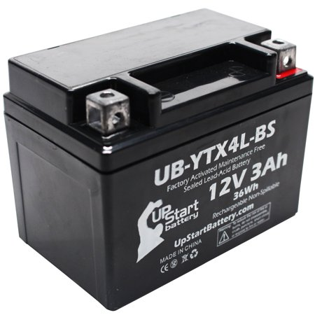 3ah Lead Acid Battery - Replacement 1986 Honda NQ50 Spree, 50D SS 50CC Factory Activated, Maintenance Free, Scooter Battery - 12V, 3Ah, UB-YTX4L-BS