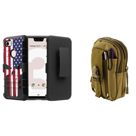 Bemz Accessory Bundle for Google Pixel 3 (5.5 inch display - Does NOT fit XL version) - BC Armor Combo Series Case (American Skull Flag), Tactical MOLLE Pack (Khaki) and (Khaki Combo)
