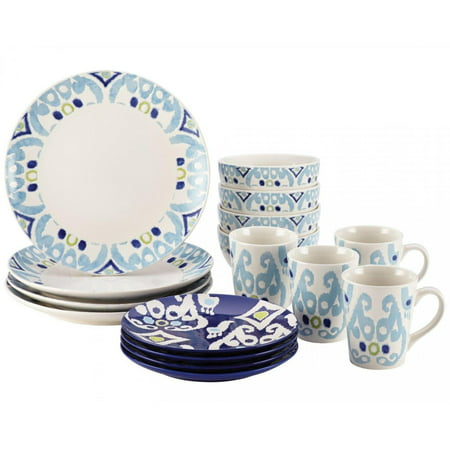 * Clearance * Rachael Ray Dinnerware Ikat 16-Piece Stoneware Dinnerware Set, Blue