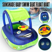 Baby Kids Inflatable Swimming Pool with Sunshade Float Seat Boat Car Swim Ring Steering Wheel Summer Toys Outdoor Play