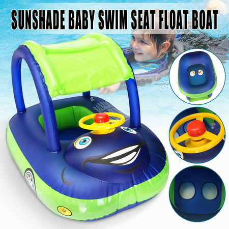 Inflatable Swimming Pool Baby Kids Swimming Float Seat Boat Car Swim Ring  Steering Wheel & Sunshade Toys Outdoor Pool Game Play