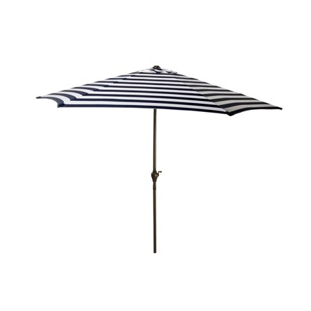 9' Outdoor Patio Market Umbrella with Hand Crank and Tilt - Navy and White Stripe ()