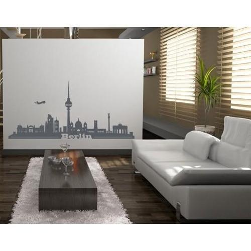 Berlin City Skyline Cityscape Wall Decal Vinyl Art Home Decor Red 47in x 22in