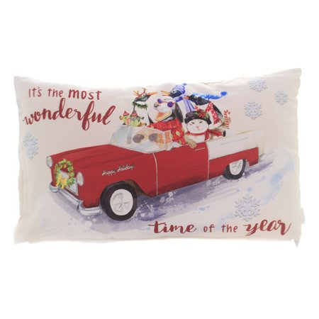 Christmas WONDERFUL TIME OF YEAR PILLOW Car Dog Cat Penguin Home Decor (Halloween's Over Time For Christmas)