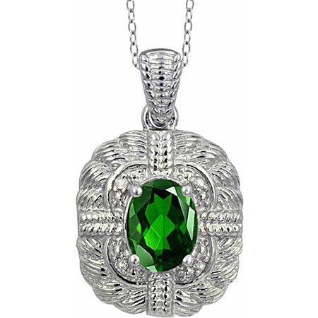 1.20 Carat T.G.W. Chrome Diopside Gemstone and White Diamond Accent Pendant