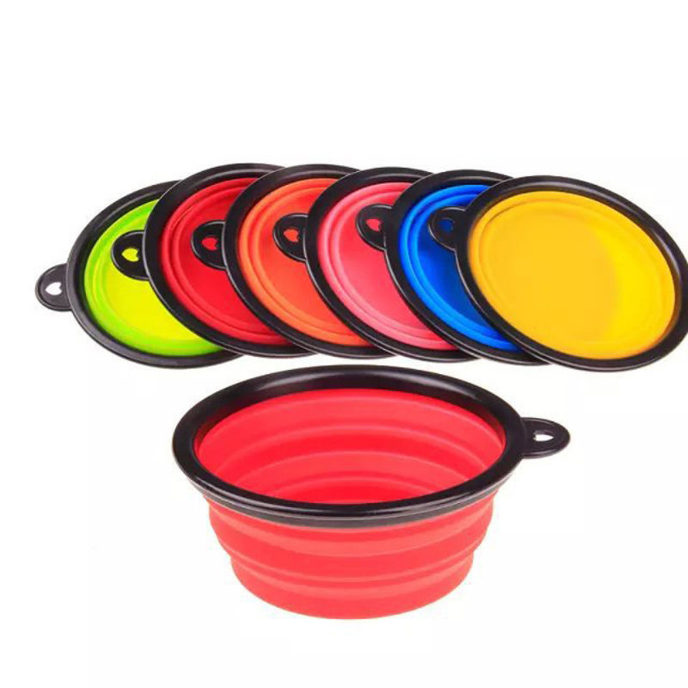 Girl12Queen Portable Pet Dog Cat Feeding Bowl Camping Silicone Folding Bowl Water Food Dish