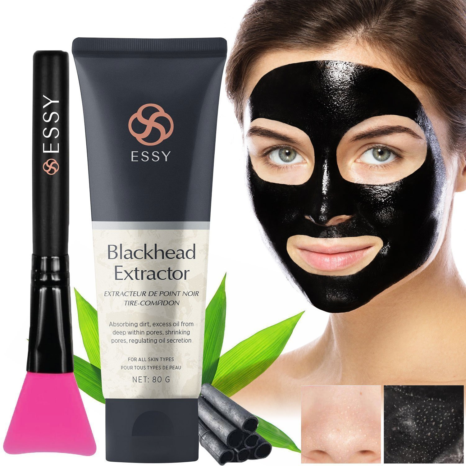 Charcoal peel off mask With Brush- Blackhead Remover, Deep Pore Cleanse for Acne, Oil Control 80g