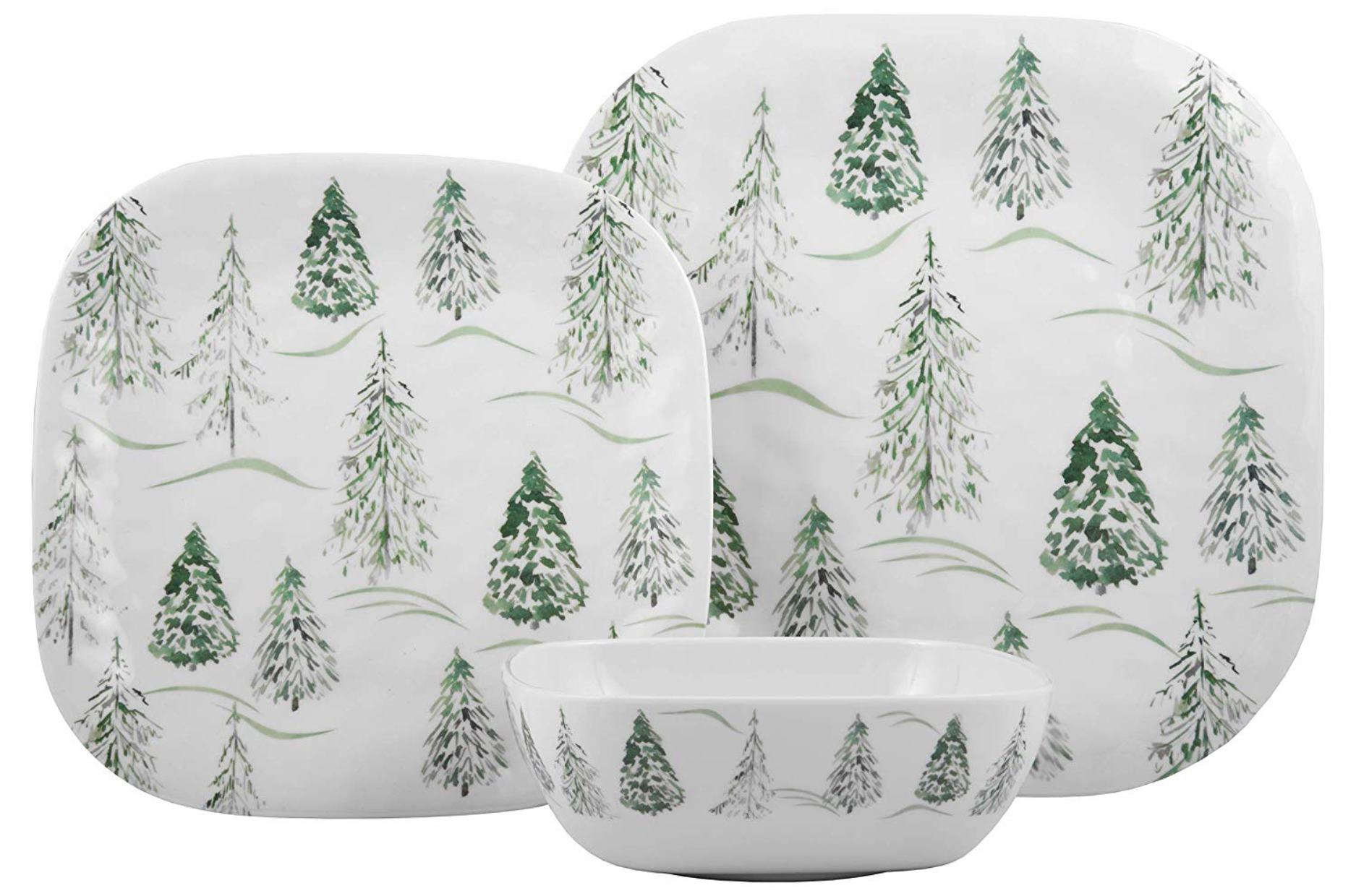 Melange 6-Piece 100/% Melamine Salad Plate Set Shatter-Proof and Chip-Resistant Melamine Salad Plates Christmas Tree Collection