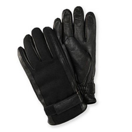 Belted Textured Wool Blend - Isotoner Mens Belted Black Leather & Wool Gloves Thinsulate Lined