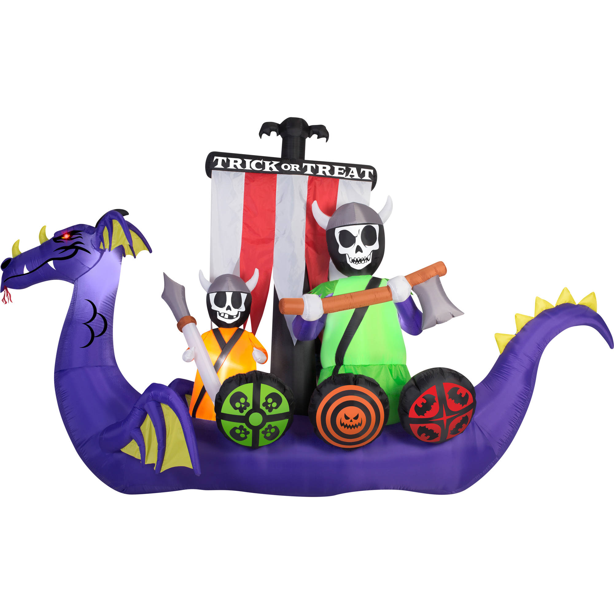 Gemmy Airblown Inflatable 7.5' X 12' Giant Animated Viking Ship Halloween Decoration