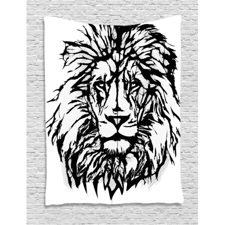 Animal Safari Wall Hangings - Lion Tapestry, Sketch Art of African Safari Animal King of the Jungle Savannah Wildlife, Wall Hanging for Bedroom Living Room Dorm Decor, Black White Pale Grey, by Ambesonne