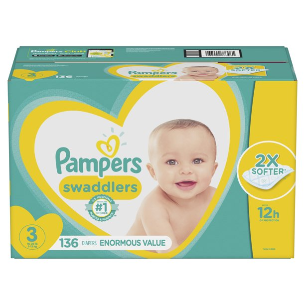 Pampers Swaddlers Soft and Absorbent Diapers, Size 3, 136 Ct