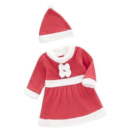 Age 1-3 Baby Girl Holiday Santa Costume Red and White Dress + Hat, 2-pc Set (80/12-18 Months)