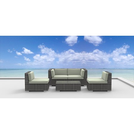 Urban Furnishing - RIO 5pc Modern Outdoor Wicker Patio Furniture Modular Sofa Sectional Set, Fully Assembled - Beige ()