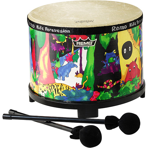 "Remo Kids Percussion Floor Tom - 10"" Diameter with Mallet,  Rain Forest Fabric"