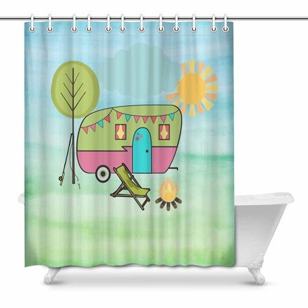 POP Happy Camper Cameo Bathroom Shower Curtain Decor Set 66x72 inch - image 1 of 1