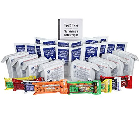 S.O.S. Rations Emergency 3600 Calorie Food Bar - 3 Day / 72 Hour Package with 5 Year Shelf Life W/ water and Millenium bars (jeff browns tips)