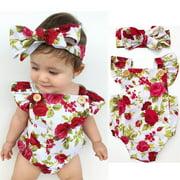 Newborn Infant Toddler Baby Girls Clothes Flower Jumpsuit Romper Bodysuit + Headband Outfits Set