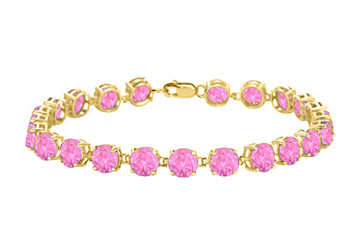 14K Yellow Gold Prong Set Round Pink Sapphire Bracelet 12 CT TGW September Birthstone Jewelry by Love Bright