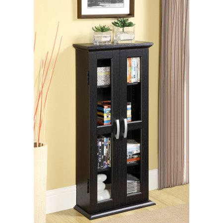 Walker Edison CD, DVD, Blu-Ray Media Tower Storage Cabinet - Black