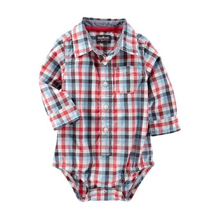 OshKosh B'gosh Baby Boys' Plaid Button Front Bodysuit, 6 Months](Plaid Onesie)