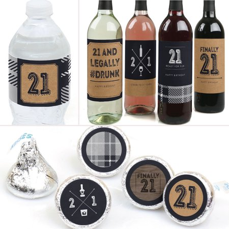 Finally 21 - 21st Birthday - Party Decorations & Favors Kit - Wine, Water and Candy Labels Trio Sticker Set - Wine Party Favors
