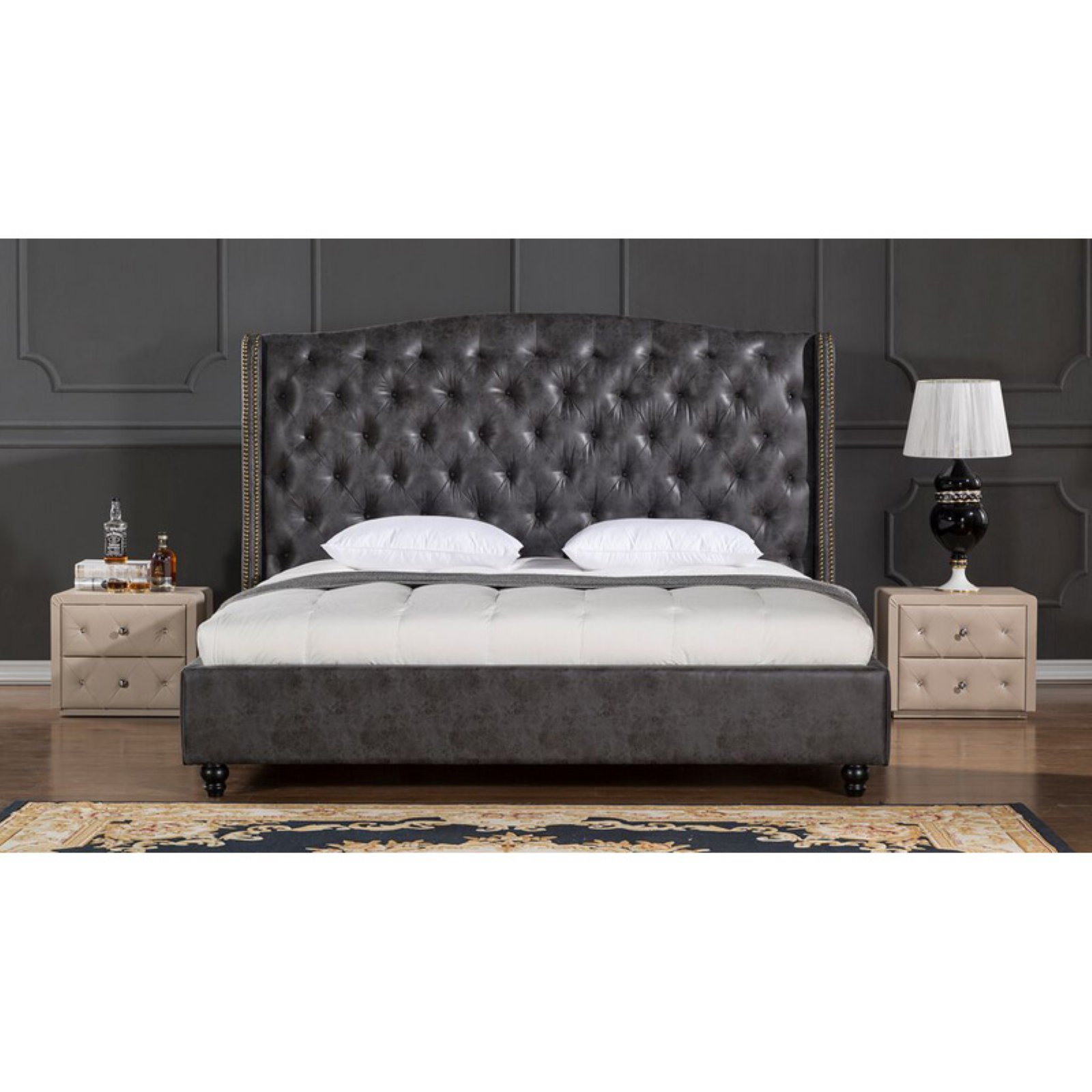 American Eagle Furniture Drake Platform Bed with Tufted Headboard