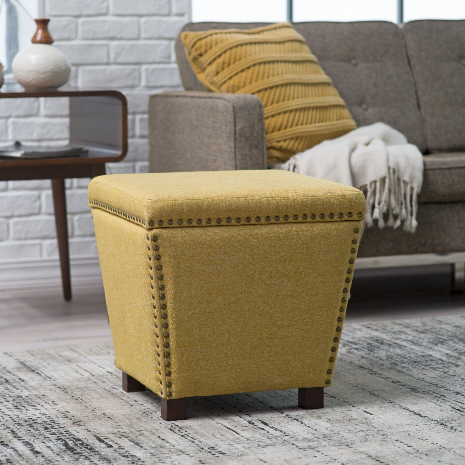 Belham Living Noelle Storage Ottoman with Nailheads