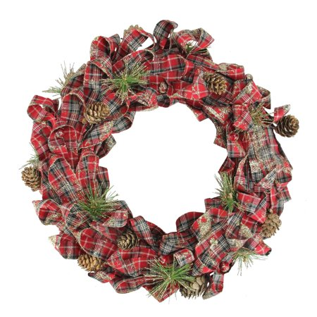 Northlight 14.25 in. Holiday Moments Plaid Bows and Pine Cones Unlit Christmas Wreath - Halloween Wreath Bows