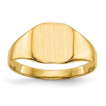 14k Yellow Gold 8.5x8.xmm Closed Back Signet Band Ring Size 6.00 Gifts For Women For Her