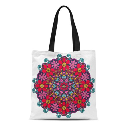 HATIART Canvas Tote Bag Adult Round Mandala in Abstract Retro Graphic Coloring Book Durable Reusable Shopping Shoulder Grocery Bag - image 1 de 1