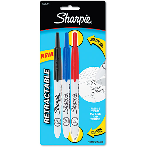 Sharpie Retractable Ultra Fine Tip Permanent Marker, Black, Blue, Red, 3pk