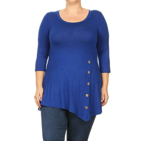 Women's Trendy Style Plus Size 3/4 Sleeves Button Trim Solid Top