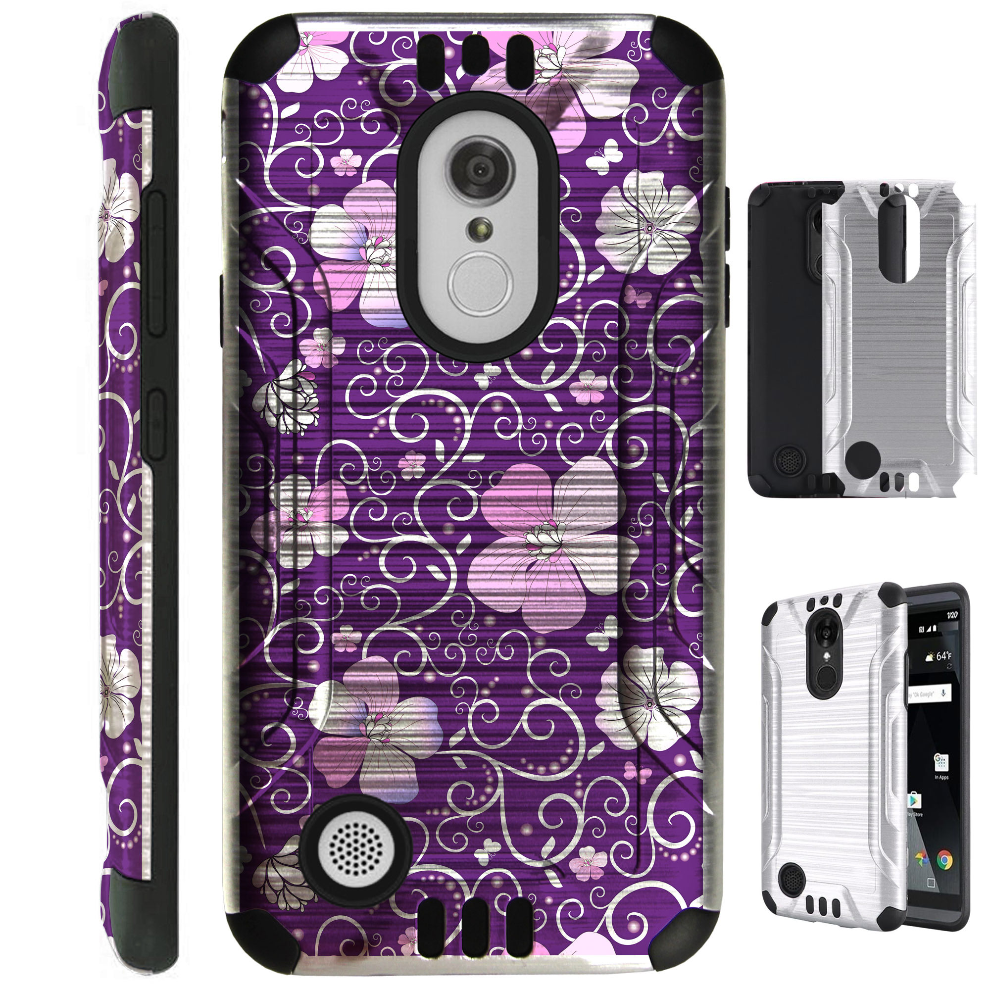 For LG Stylo 3 / LG Stylo 3 Plus LS777 Case Brushed Metal Texture Hybrid TPU Metallic Guard Phone Cover (Purple Flowe Vine)