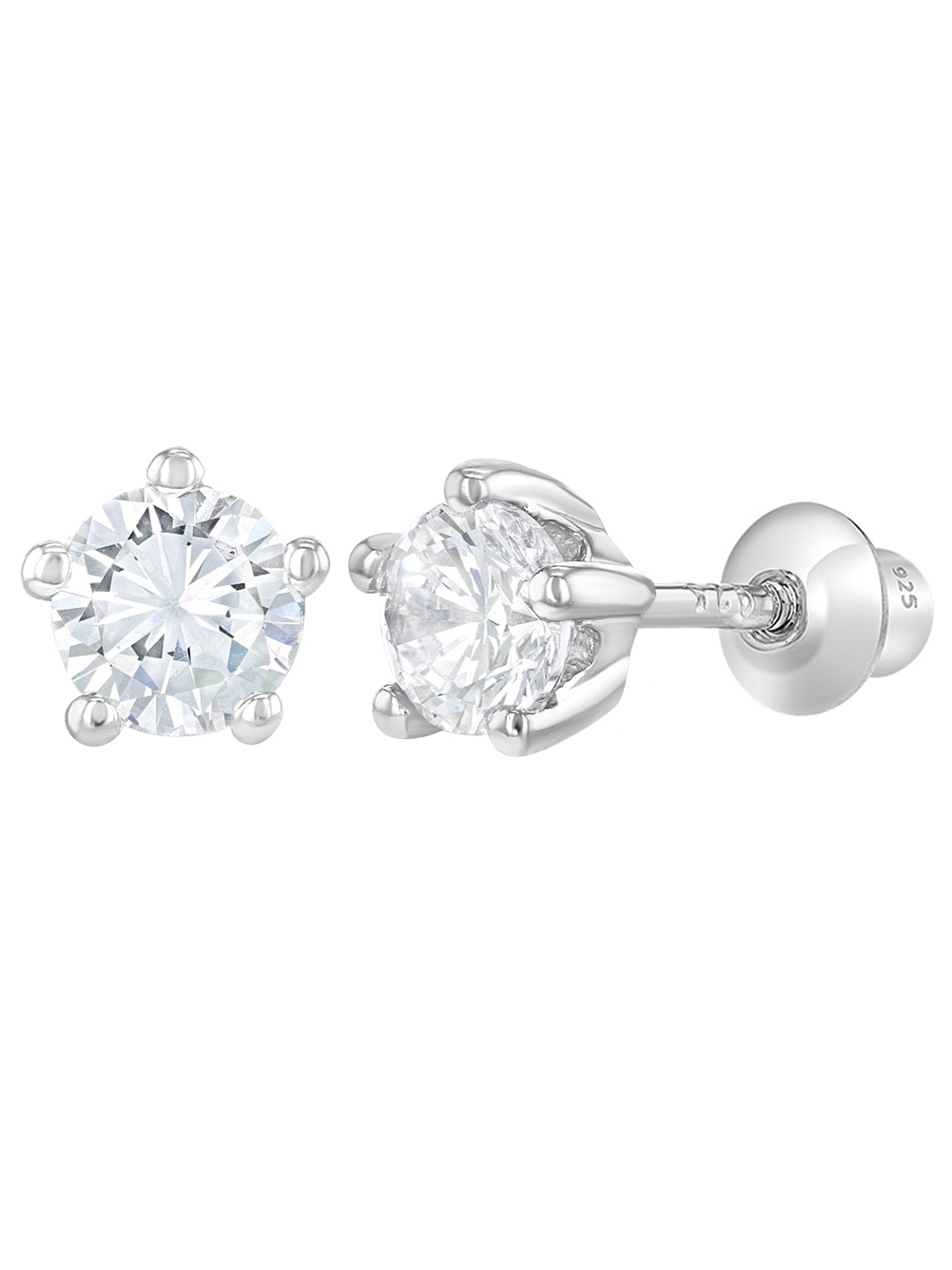 In Season Jewelry 925 Sterling Silver Baby Girls Kids Screw Back Earrings Prong Set CZ 4mm