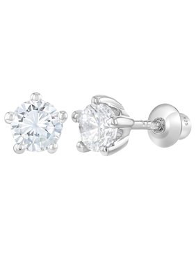 3373458a6894 Product Image In Season Jewelry 925 Sterling Silver Baby Girls Kids Screw  Back Earrings Prong Set CZ 4mm