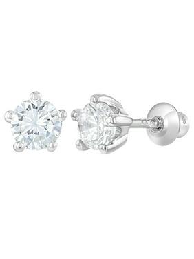 a582363671 Product Image In Season Jewelry 925 Sterling Silver Baby Girls Kids Screw  Back Earrings Prong Set CZ 4mm