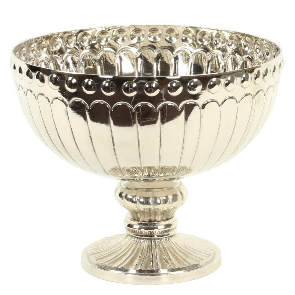Koyal Wholesale Silver Metal Pedestal Bowl 8 x 7.5-Inch Floral Compote Vase, For Wedding Centerpiece