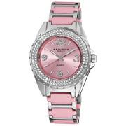 Women's Pink Quartz Crystal Ceramic Bracelet Watch