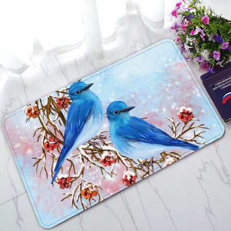 YKCG Merry Christmas Red Cherry Two Blue Bird Sitting on Branch Doormat Indoor/Outdoor/Bathroom Doormat 30x18 inches