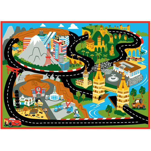 "Disney Cars Mount Fuji Game Rug, 44"" x 31.5"""
