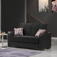 Armada Fabric Upholstery Wooden Top Arm Convertible Love Seat with Storage