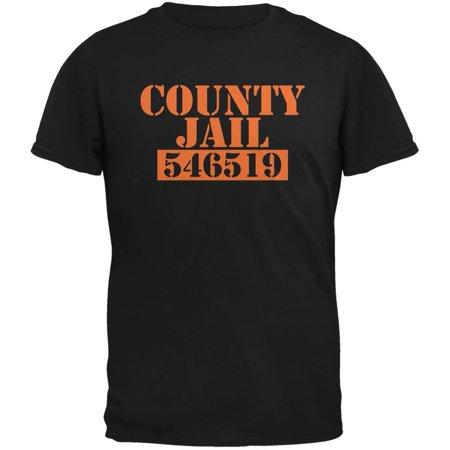 Halloween County Jail Inmate Costume Black Adult T-Shirt (Halloween Martin County)